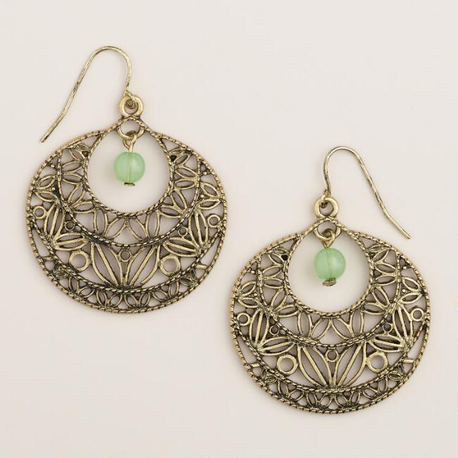 Antique Gold Filigree Drop Hoop Earrings
