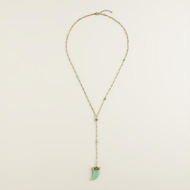 Jade Horn Lariat Necklace