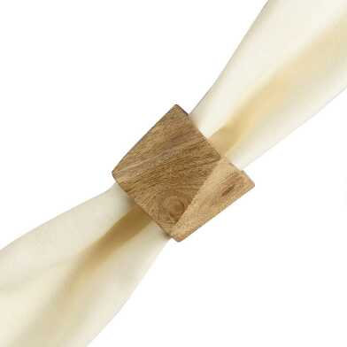 Geometric Wood Napkin Rings, Set of 4