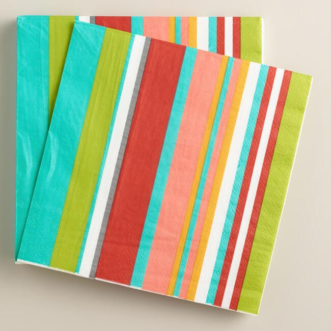 Striped Bungalow Summer Lunch Napkins, 16-Count