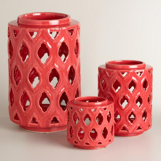 Red Ceramic Cutout Hurricane Candleholder