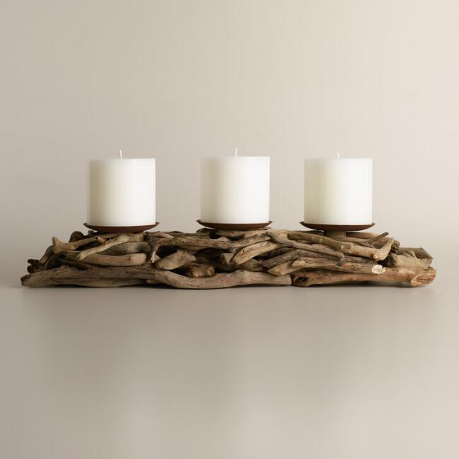 driftwood 3 pillar candleholder centerpiece world market