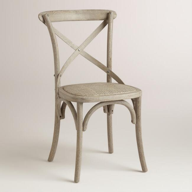 Wood and Rattan Syena Dining Chairs, Set of 2