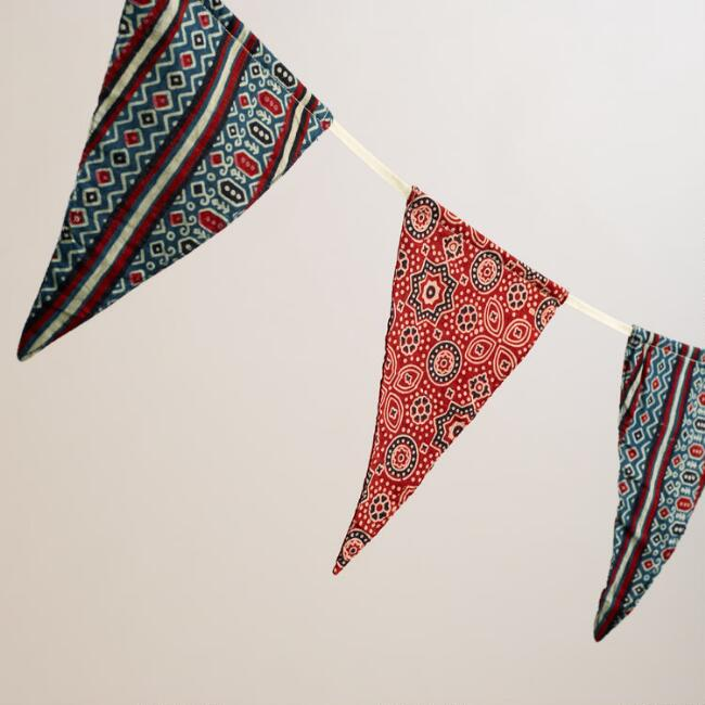 Red, White and Blue Fabric Garland, Set of 2