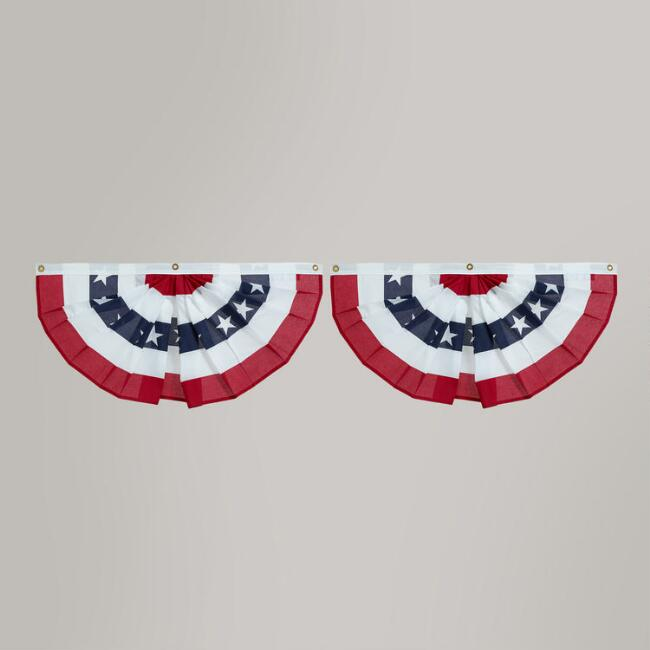 Pleated Bunting United States Flags, 2-Pack