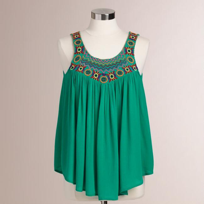 Green Embroidered Roxie Tank Top