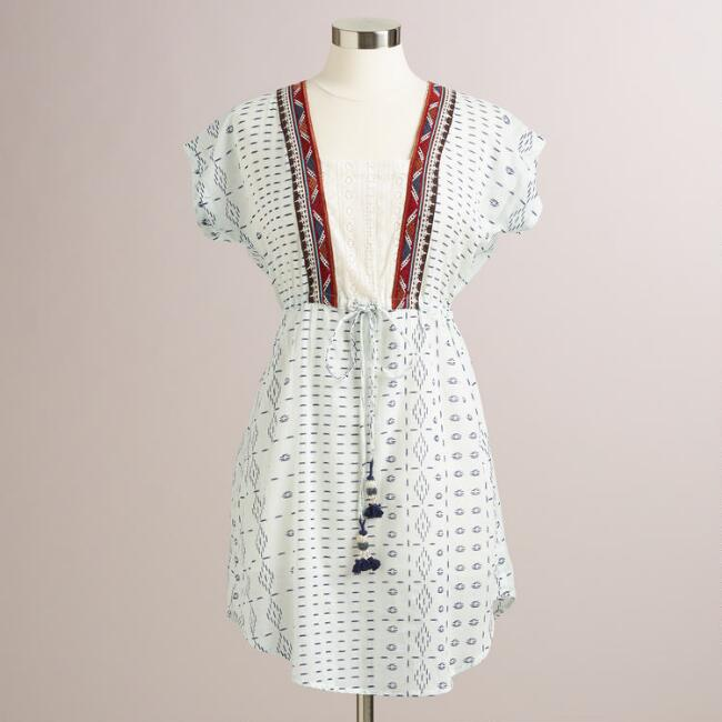 White and Blue Embroidered Mila Tunic