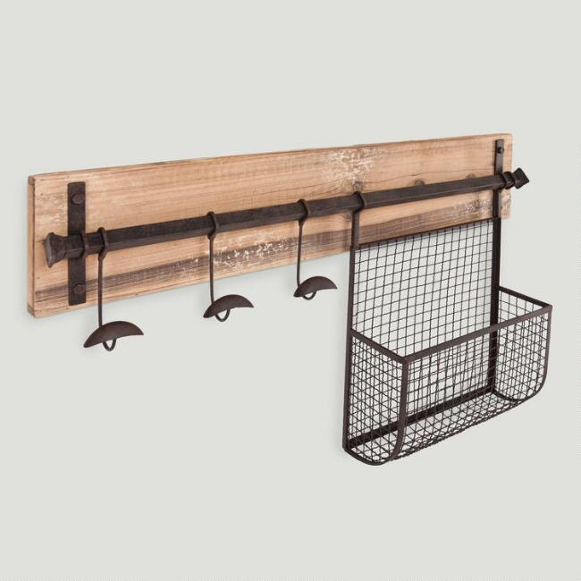 Wood and Metal Entryway Wall Storage