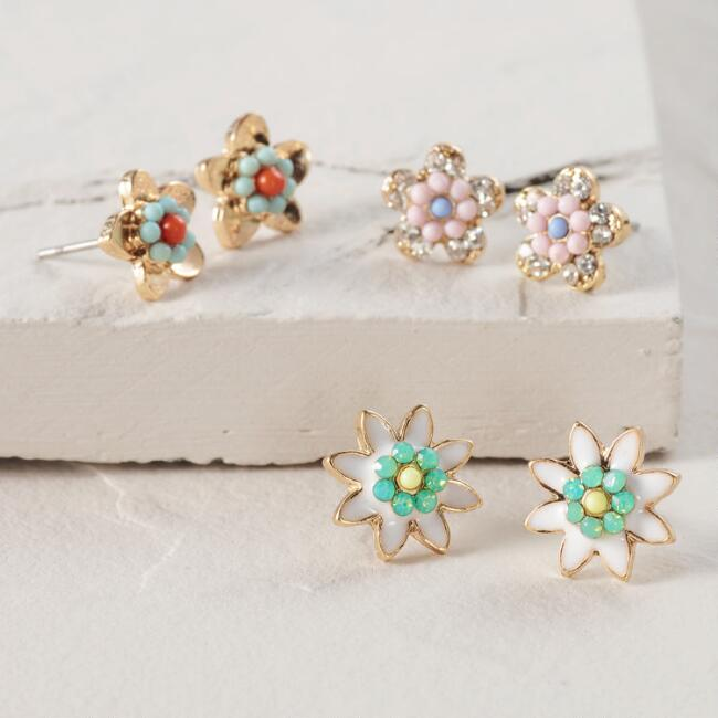 Gold and Multicolor Flower Stud Earrings