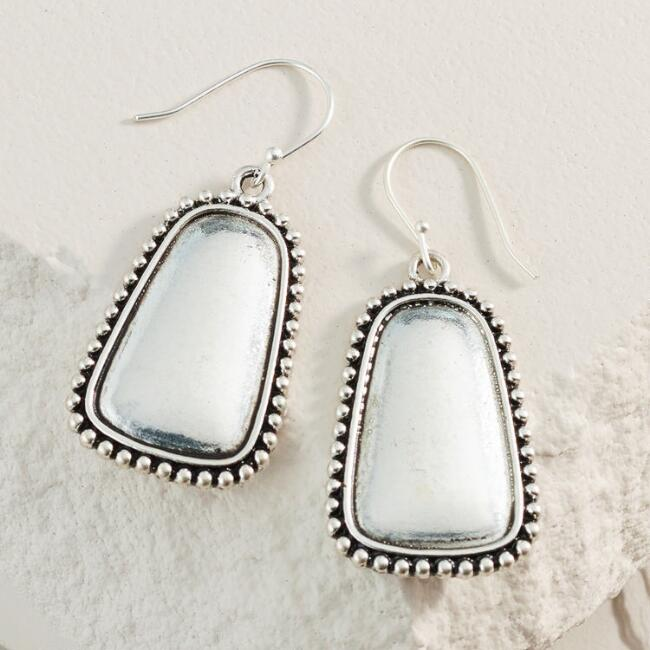 Silver Rectangle Drop Earrings