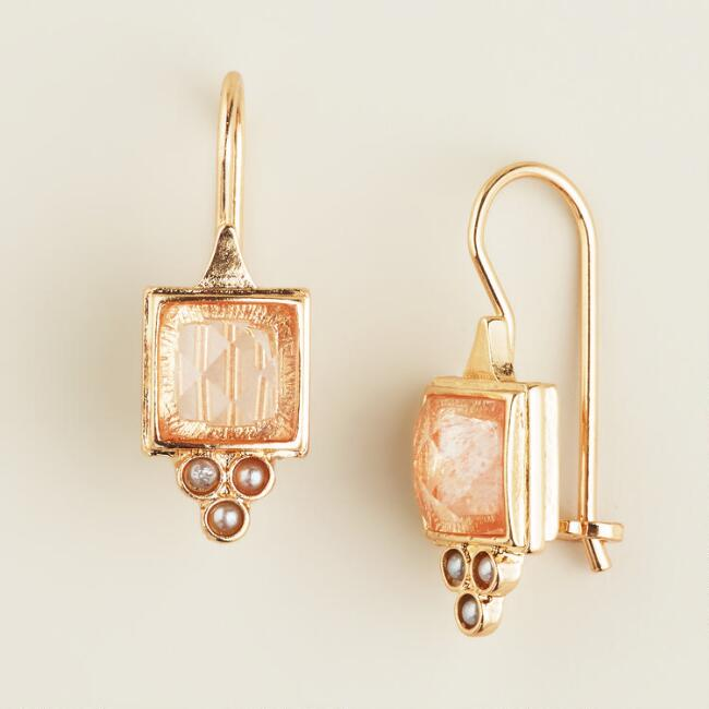 Small Coral Square Drop Earrings