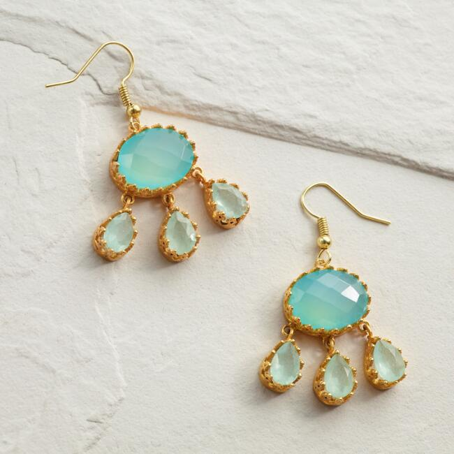 Aqua Chalcedony Statement Dangle Earrings