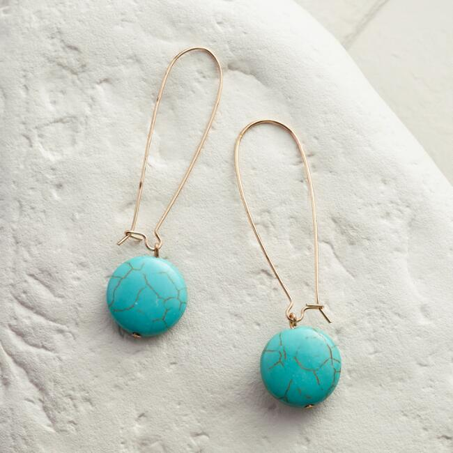 Gold and Turquoise Drop Earrings