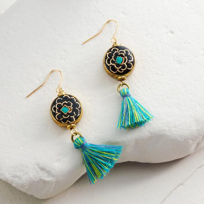 Gold and Turquoise Round Tassel Drop Earrings