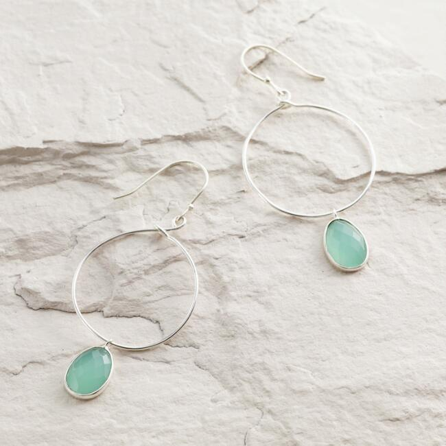 Silver Hoop Aqua Drop Dangle Earrings