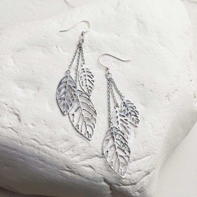 Silver Leaves Dangle Earrings