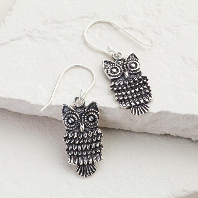 Silver Owl Drop Earrings