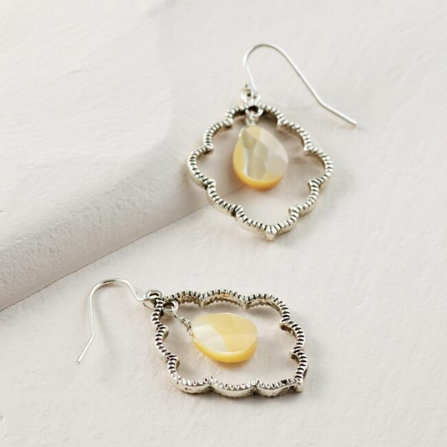 Silver Scallop Mother of Pearl Drop Earrings