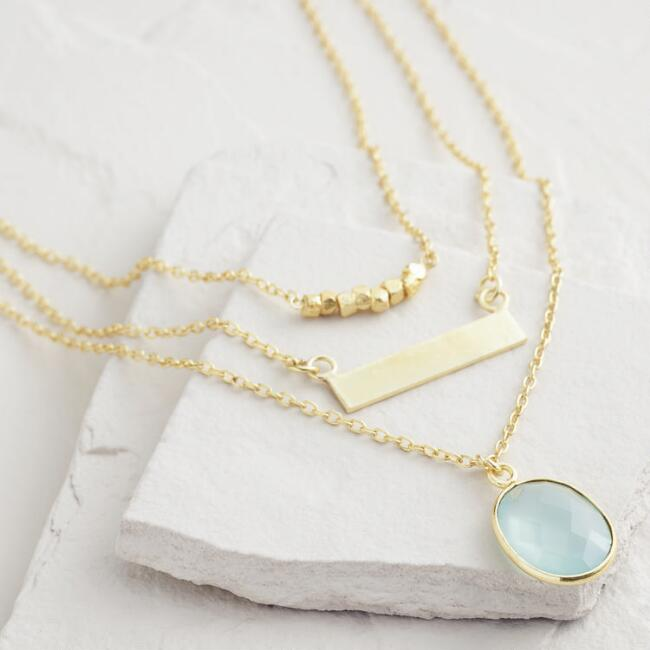 Gold 3-Layer Bar and Faceted Stone Necklace
