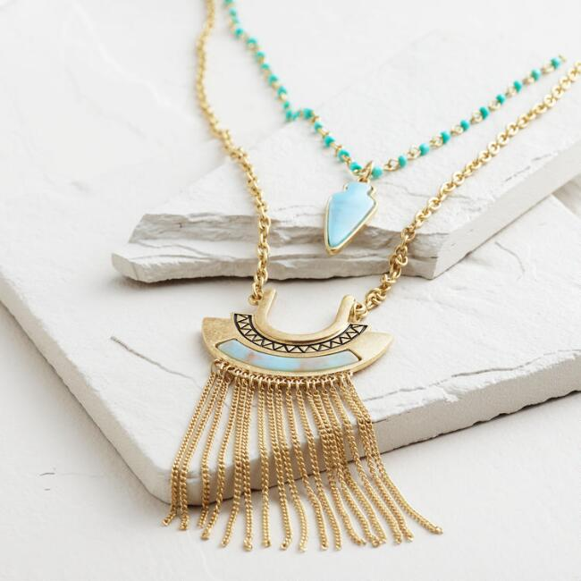 Gold 2-Layer Turquoise Arrowhead and Fringe Necklace