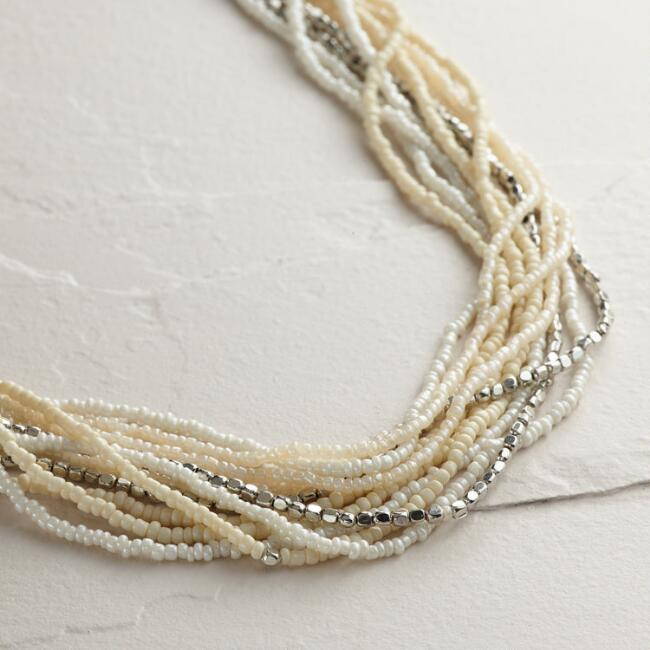 Long Ivory Multi-Strand Beaded Necklace