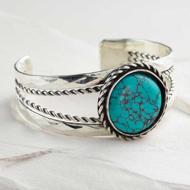Silver and Turquoise Stone Cuff Bracelet