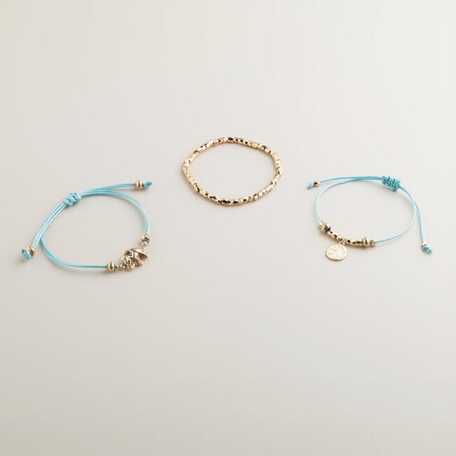 Gold Aqua and Elephant Charm Bracelets, Set of 3