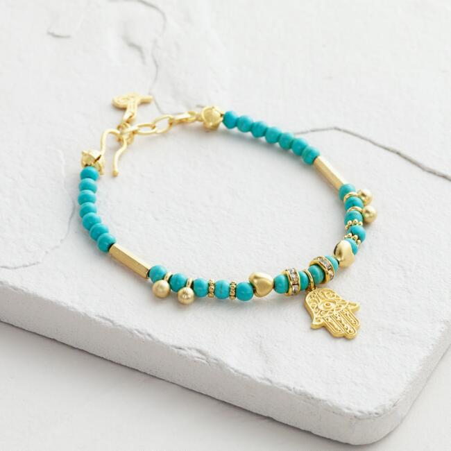 Gold and Turquoise Bead Hamsa Friendship Bracelet