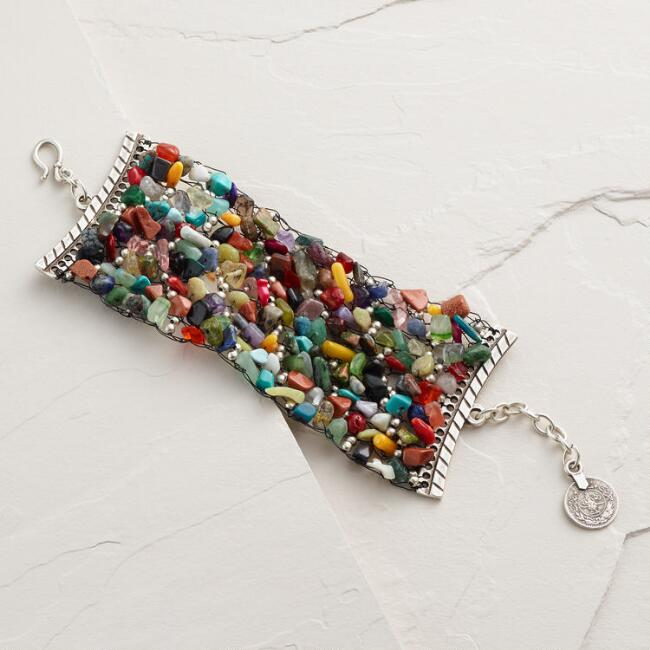 Wide Multicolored Chip Bracelet