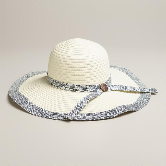 Ivory and  Navy  Sunhat