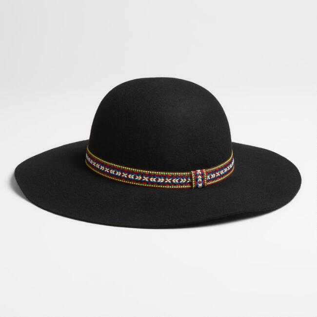 Black Floppy Hat with Jacquard Band