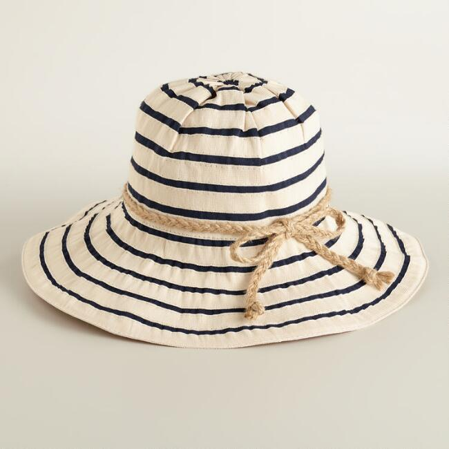 Blue and Natural Ribbon Sunhat
