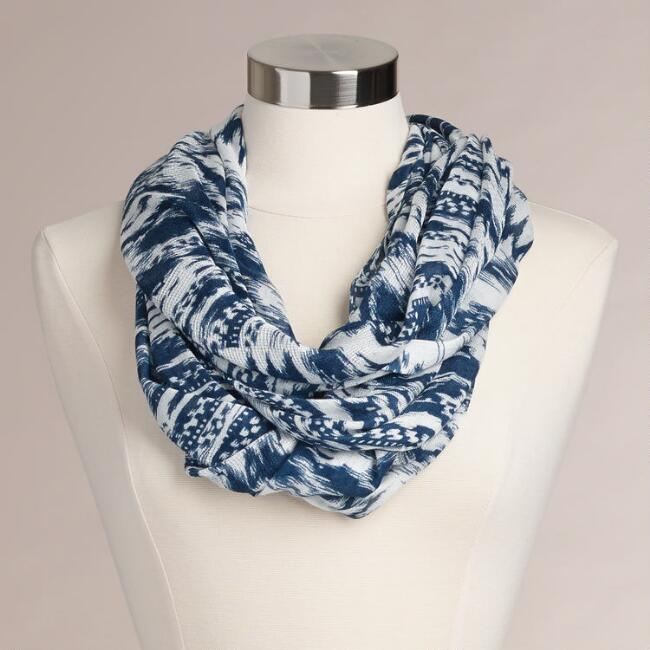 White and Navy Ikat Infinity Scarf