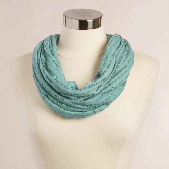 Mint Distressed Jersey Infinity Scarf