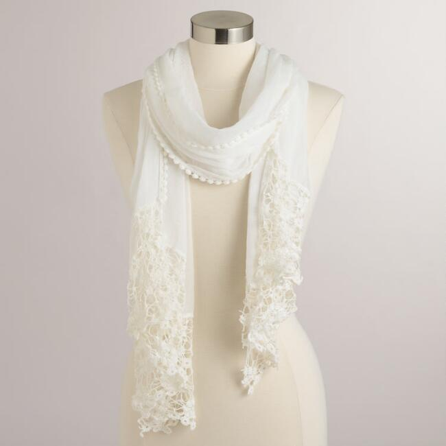 White Lace Scarf with Fringe