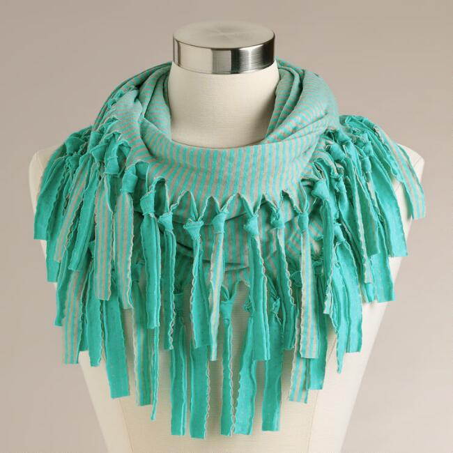 Turquoise Striped Infinity Scarf with Fringe