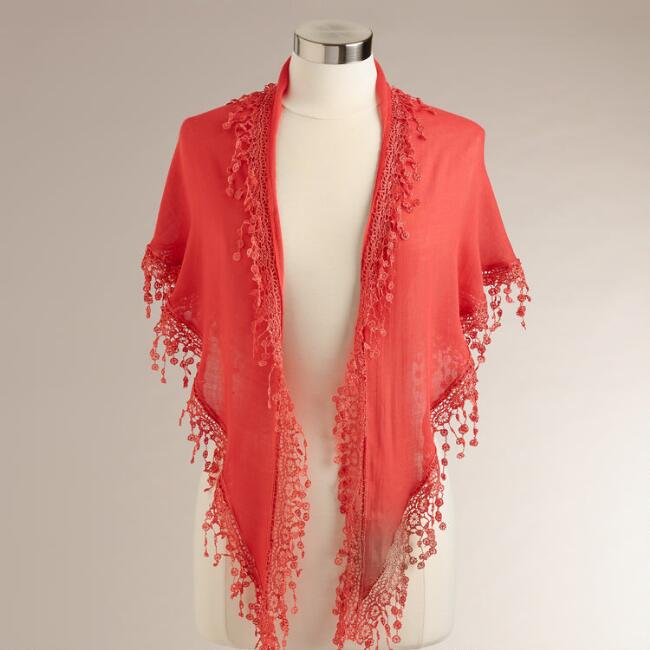Dark Coral Scarf with Lace Trim