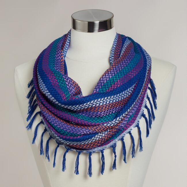 Cobalt Blue Infinity Scarf with Woven Fringe