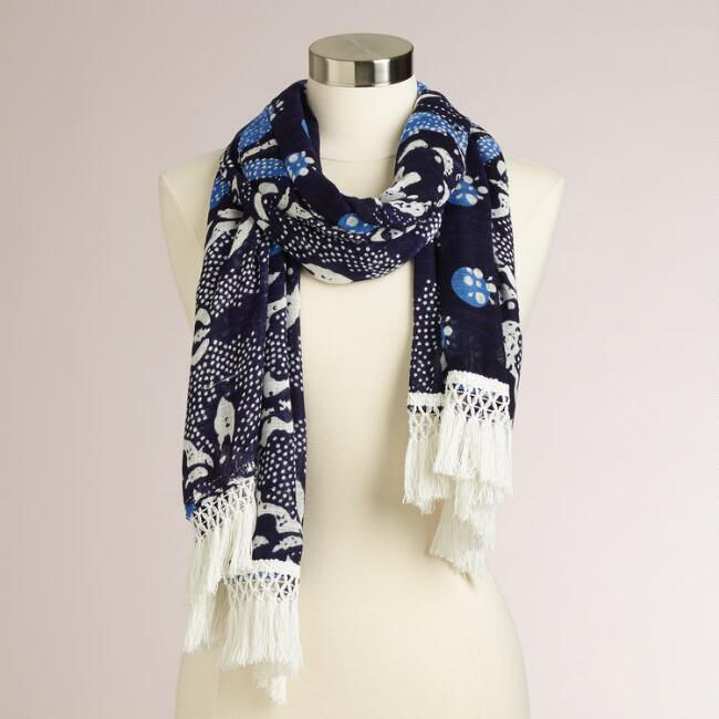 Navy Blue Scarf with White Fringe