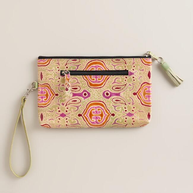 Small Mint and Pink Leather Clutch