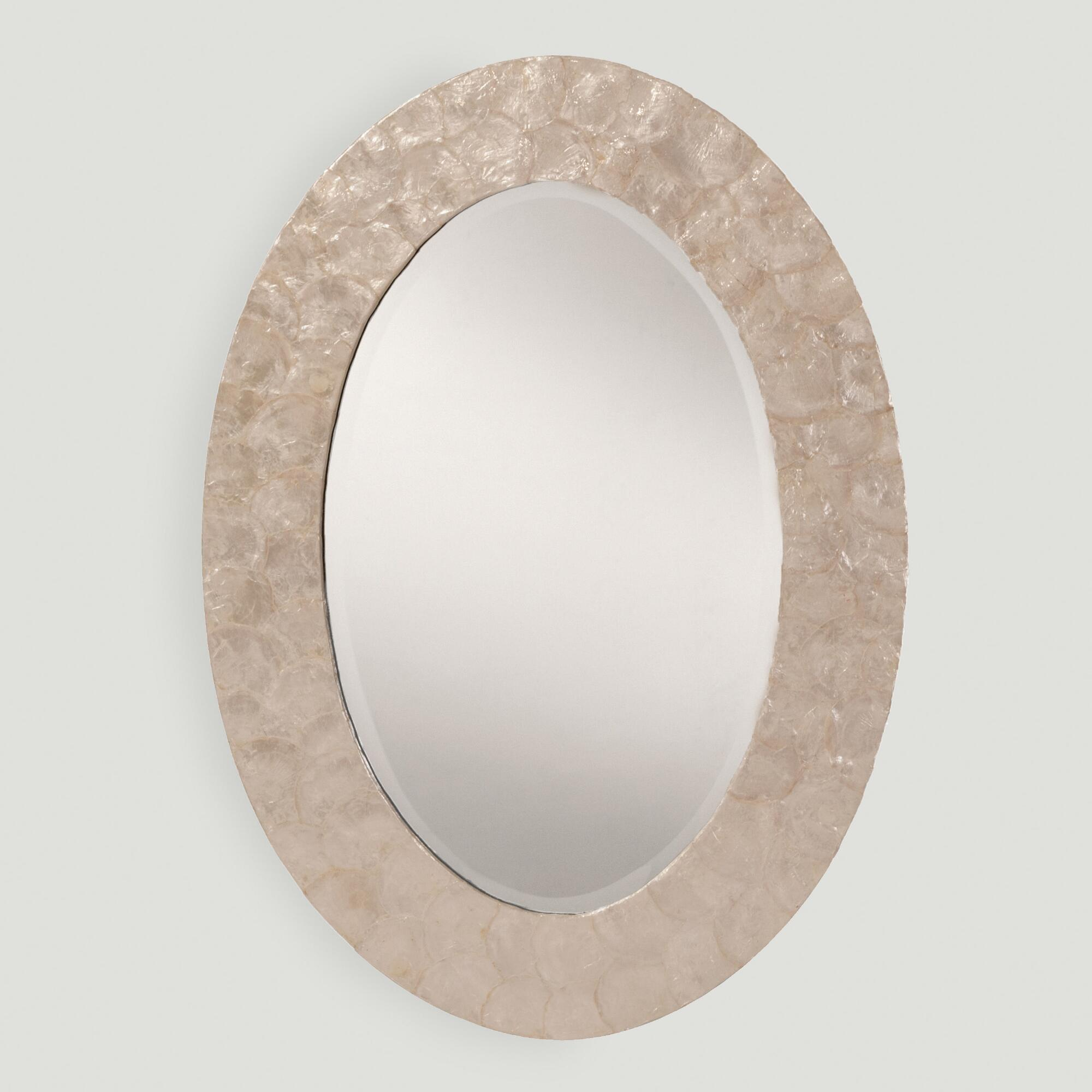 White Mother of Pearl Oval Mirror by World Market