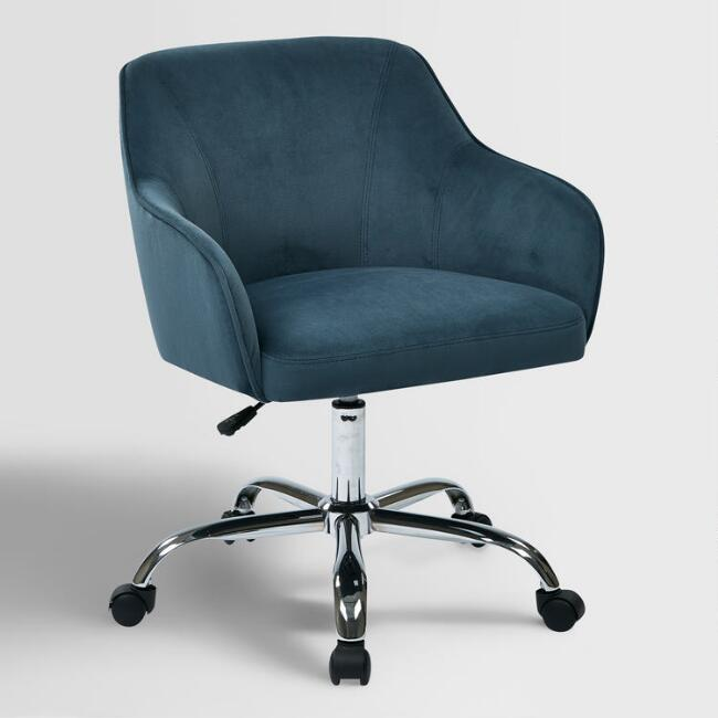 Blue Velvet Jozy Home Office Chair