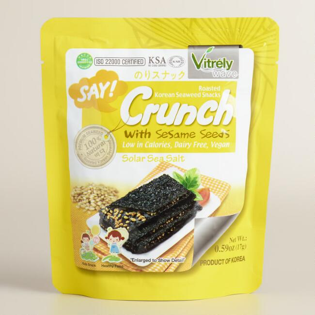 Say Crunch Sea Salt Seaweed Snacks with Sesame Seeds