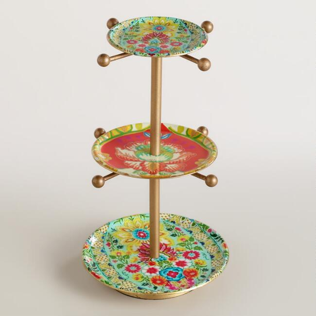 Floral Enameled 3-Tiered Jewelry Stand