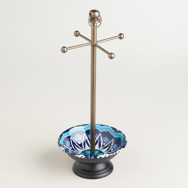 Blue and Turquoise Enamel Jewelry Stand