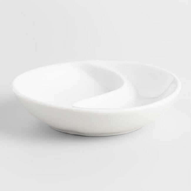 White Porcelain Divided Sauce Dishes, Set of 6