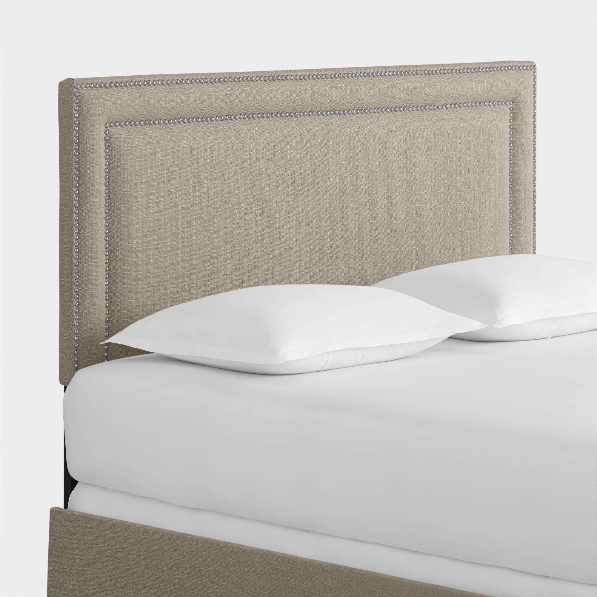 Textured Woven Treyton Upholstered Bed: White - Fabric - Twin Bed by World Market Twin/White