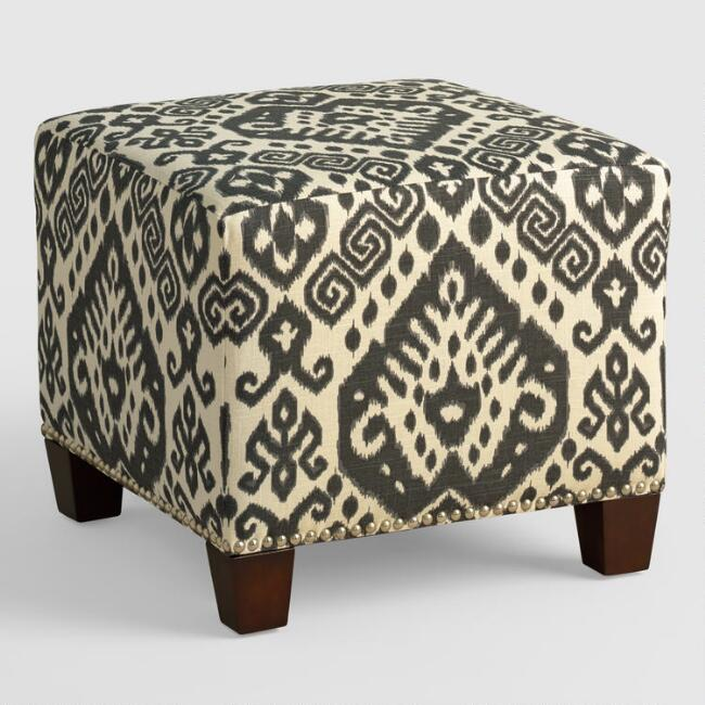 Charcoal Safi McKenzie Upholstered Ottoman