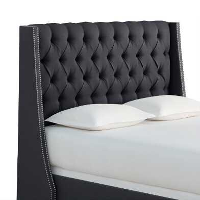 Textured Tufted Wingback Kellerman Upholstered Bed