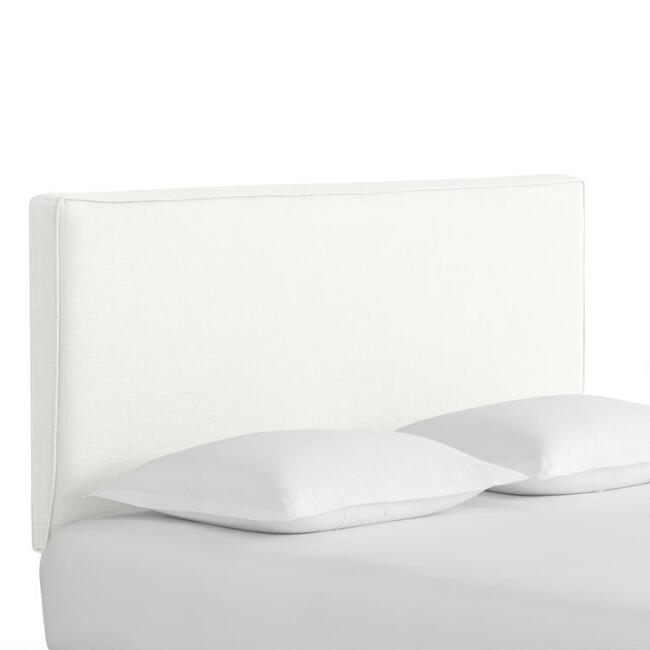 White Textured Woven Loran Upholstered Headboard